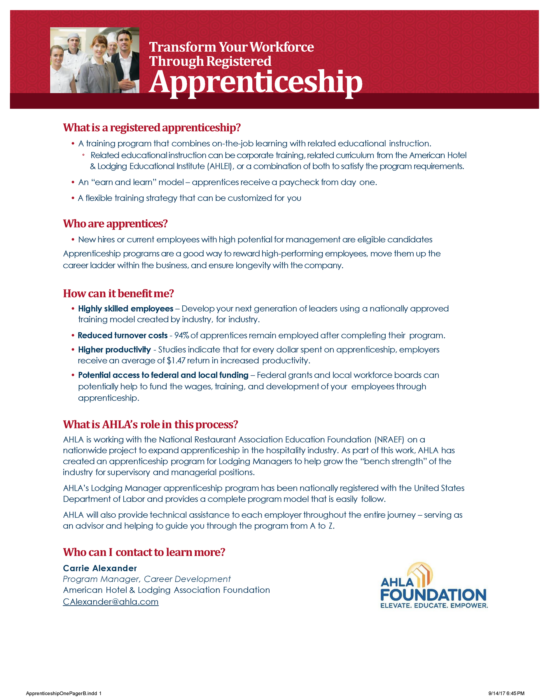 Apprenticeship One Pager Lodging Manager 2019
